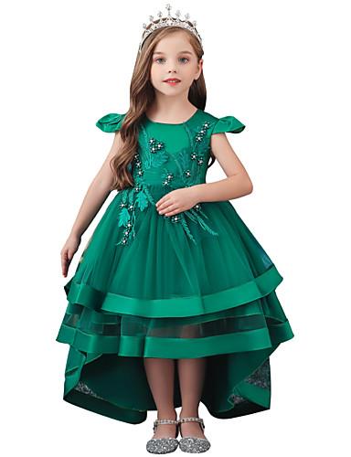 preiswerte Prunk Kleider-Kinder Mädchen Süß Blumen Solide Spitze Perlenbesetzt Schleife Kurzarm Asymmetrisch Kleid Wein