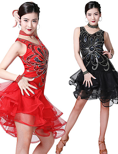 cheap Dancing Costumes-Women's Flapper Girl Latin Dance Flapper Dress Party Costume Sequins Flapper Costume Tulle Sequin Polyster Black Purple Royal Blue Dress