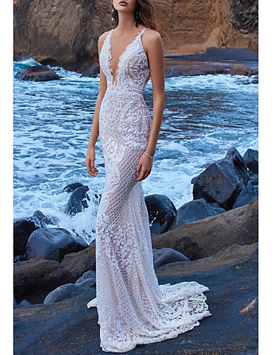 cheap High-end Wedding Dresses-Sheath / Column V Neck Court Train Lace Spaghetti Strap Illusion Detail / Backless Wedding Dresses with Beading 2020