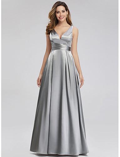 preiswerte Abendkleider-A-Linie V-Ausschnitt Boden-Länge Satin Abiball Kleid mit durch LAN TING Express
