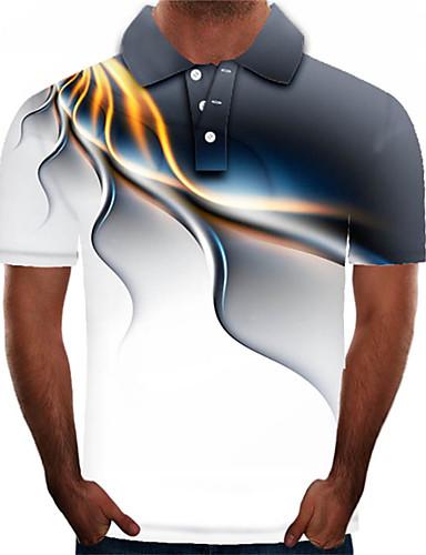 Homens Polo Moda de Rua / Exagerado Estampado, Estampa Colorida / 3D / Gráfico Arco-íris