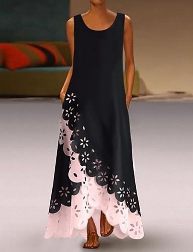 cheap Casual Dresses-Women's A-Line Dress Maxi long Dress - Sleeveless Floral Hole Summer U Neck Casual 2020 White Purple Blushing Pink Gold Light Blue S M L XL XXL XXXL XXXXL XXXXXL