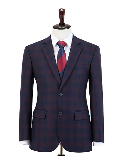 cheap Men's Custom Suits-Blue and Red Check Wool Custom Suit