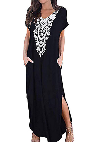 levne Maxi šaty-Dámské Tričko Šaty - Geometrický Maxi