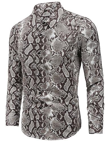 levne Pánské košile-Pánské - Geometrický Základní Košile Světle šedá