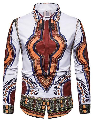 levne Pánské košile-Pánské - Geometrický / Barevné bloky / Etno Základní / Šik ven Košile Černá