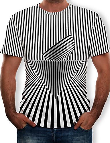Homens Camiseta Estampado, 3D Preto