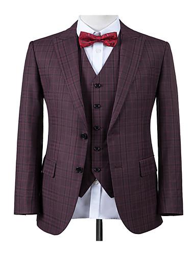 cheap Men's Custom Suits-Berry purple windowpane custom suit