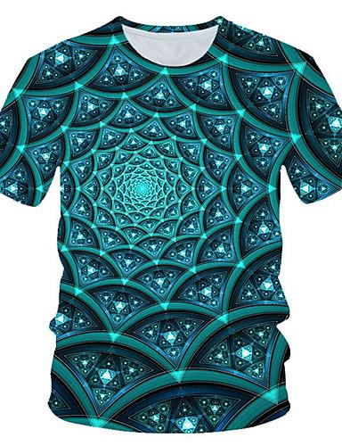 Homens Camiseta Moda de Rua / Exagerado Estampado, Estampa Colorida / 3D / Gráfico Azul