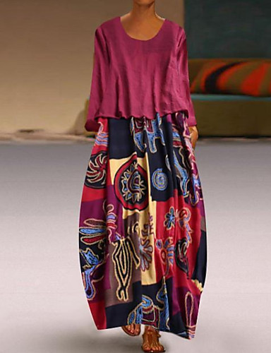 levne Maxi šaty-Dámské Elegantní Shift Šaty - Barevné bloky, Tisk Maxi