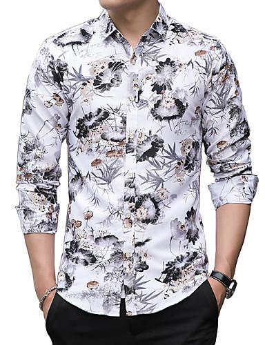 levne Pánské košile-Pánské - Květinový Základní Košile, Tisk Bílá