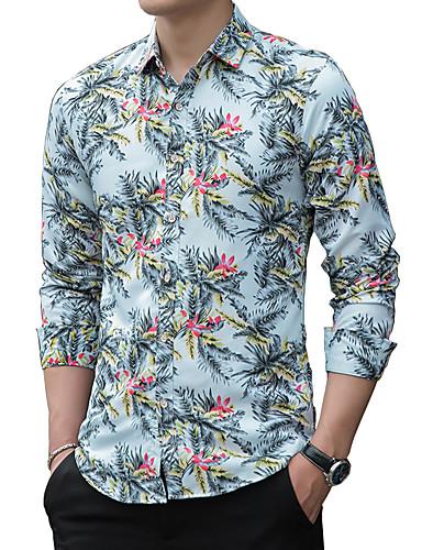 levne Pánské košile-Pánské - Květinový Základní Košile, Tisk Trávová zelená