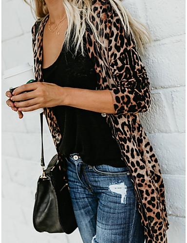 billige Mer å elske-Dame Leopard Langermet Cardigan Genserjumper, Dyp V Bomull Brun S / M / L