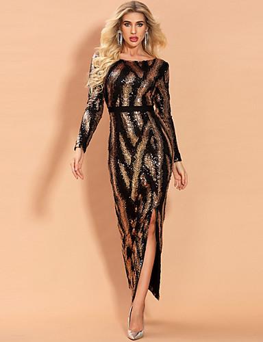 levne Maxi šaty-Dámské Elegantní Pouzdro Šaty - Geometrický, Flitry Maxi