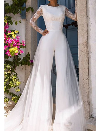 cheap Wedding Dresses-Jumpsuits Jewel Neck Court Train Lace / Tulle Long Sleeve Modern / Illusion Sleeve Wedding Dresses with Lace 2020
