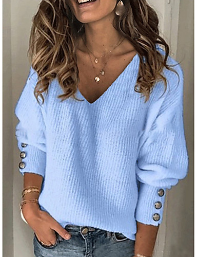 cheap Sweaters & Cardigans-Women's Solid Colored Pullover Long Sleeve Sweater Cardigans V Neck Blue Red Gray