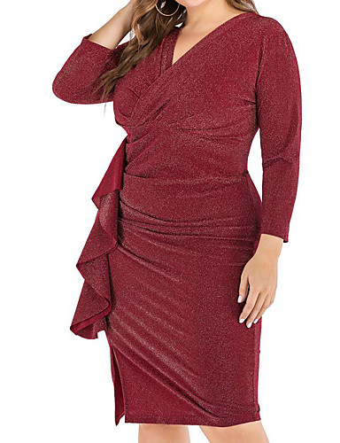 levne Šaty velkých velikostí-Dámské Základní Pouzdro Šaty - Jednobarevné, Šněrování Délka ke kolenům