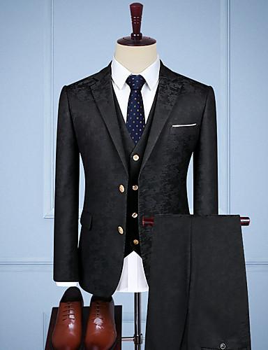billige Herre tilpassede drakter-sort vintage jacquard tilpasset dress