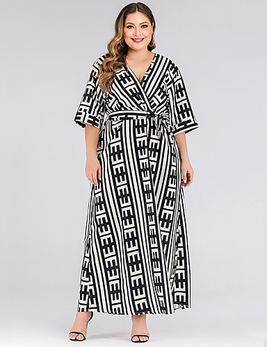 levne Maxi šaty-Dámské Základní Pouzdro Šaty - Kostičky, Patchwork Maxi