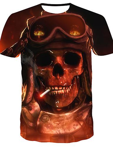Homens Camiseta Estampado, 3D Marron