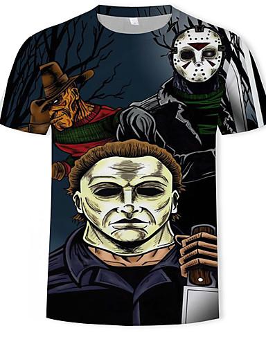 Homens Camiseta Moda de Rua / Punk & Góticas Estampado, Geométrica / Estampa Colorida Preto