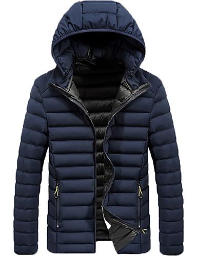 levne Pánské kabáty a parky-Pánské Denní / Práce Zima Standardní Kabát, Jednobarevné Kapuce Dlouhý rukáv Polyester Černá / Světle šedá / Vodní modrá