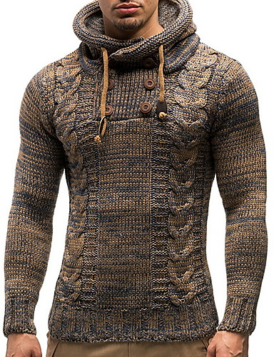 cheap Men's Sweaters & Cardigans-Men's Solid Colored Pullover Long Sleeve Sweater Cardigans Hooded Black Camel