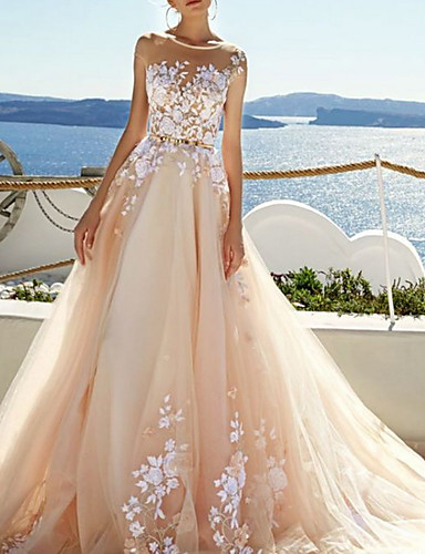 cheap Wedding Dresses-A-Line Jewel Neck Sweep / Brush Train Tulle Regular Straps Wedding Dresses with Appliques 2020