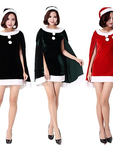 preiswerte Weihnachten Kostüme-FrauClaus Kleid Damen Erwachsene Kostüm-Party Weihnachten Weihnachten Samt Kleid / Hut