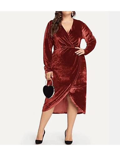 levne Šaty velkých velikostí-Dámské Elegantní Bodycon Šaty - Leopard Jednobarevné, Rozparek Patchwork Wrap Midi