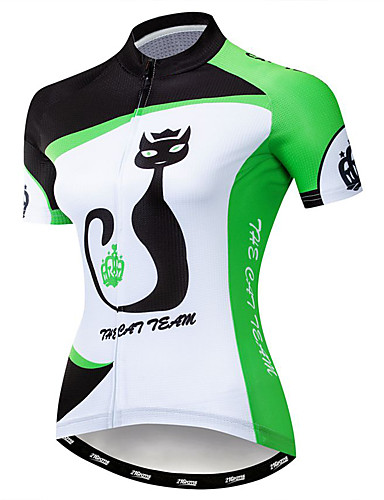 cheap Cycling-21Grams Women's Short Sleeve Cycling Jersey Summer Elastane Polyester Green Cat Animal Bike Jersey Top Mountain Bike MTB Road Bike Cycling Quick Dry Moisture Wicking Breathable Sports Clothing Apparel