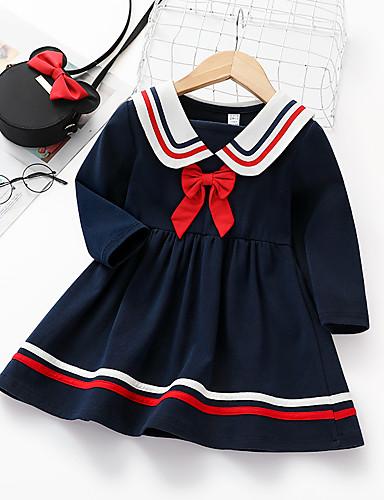 Infantil Para Meninas Básico Listrado Sólido Manga Longa Altura dos Joelhos Vestido Azul Real