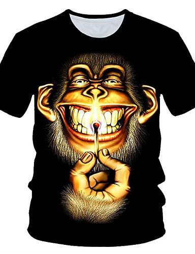 Homens Camiseta Moda de Rua / Exagerado Estampado, Estampa Colorida / 3D / Gráfico Preto