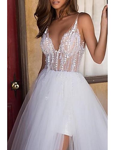 cheap Wedding Dresses-A-Line V Neck Asymmetrical Tulle Regular Straps Boho Wedding Dresses with Embroidery / Cascading Ruffles 2020