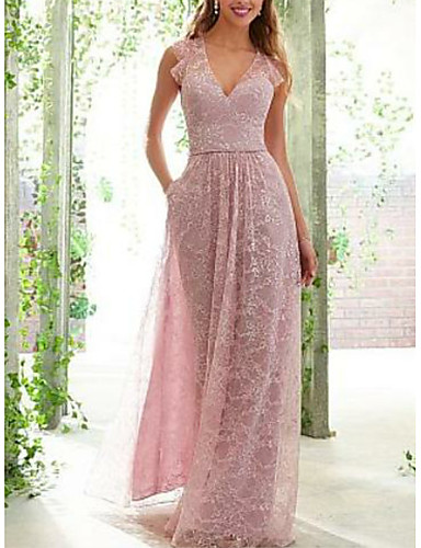 cheap Bridesmaid Dresses-A-Line Plunging Neck Floor Length Lace / Satin Bridesmaid Dress with Ruching