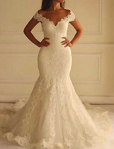 cheap Wedding Dresses-Mermaid / Trumpet Off Shoulder Court Train Lace Short Sleeve Sexy Illusion Detail / Backless Wedding Dresses with 2020