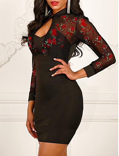 preiswerte Damenbekleidung-Damen Schlank Hülle Kleid - Bestickt, Blumen Übers Knie Hemdkragen