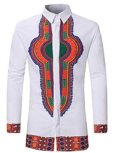 Homens Camisa Social Boho / Moda de Rua Geométrica / Estampa Colorida / Tribal Branco