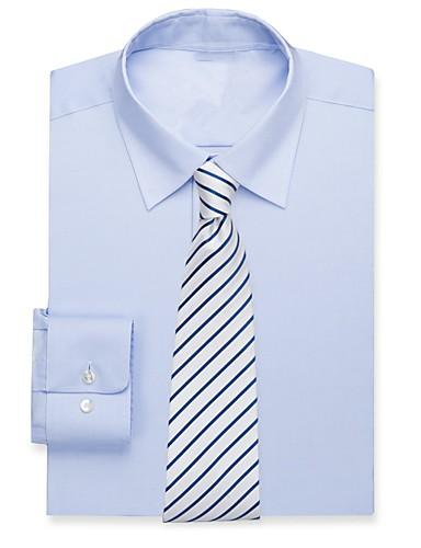 tanie Garnitury męskie na miarę-dymna niebieska bawełniana koszula