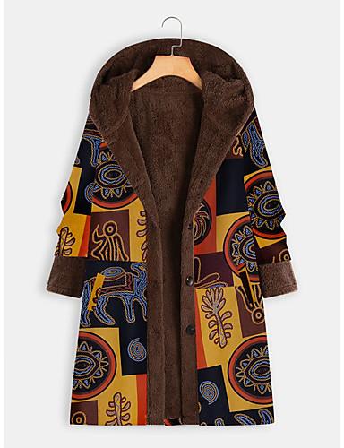 levne Dámské kabáty a trenčkoty-Dámské Denní Dlouhé Kabát, Barevné bloky Kapuce Dlouhý rukáv Polyester Žlutá / Rubínově červená