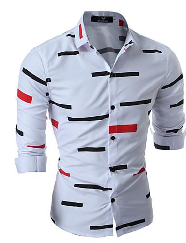 povoljno Bijele košulje-Muškarci Dnevno Majica Geometrijski oblici Dugih rukava Tops Obala Crn Plava