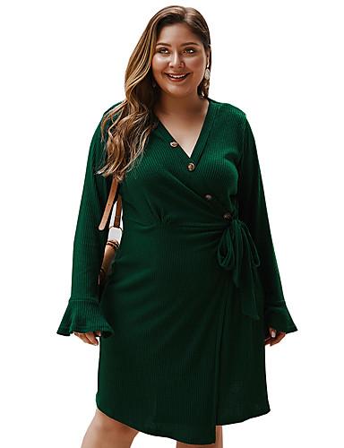 levne Šaty velkých velikostí-Dámské Základní Pouzdro Šaty - Jednobarevné, Patchwork Délka ke kolenům