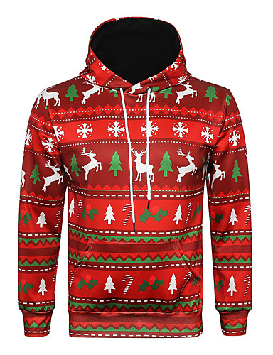 cheap Christmas Deals-Men's / Women's Party / Christmas Hoodie - Geometric / 3D / Character Red L