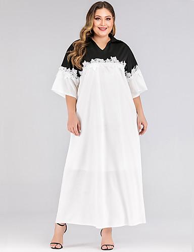 levne Maxi šaty-Dámské Základní A Line Šaty - Jednobarevné, Patchwork Maxi