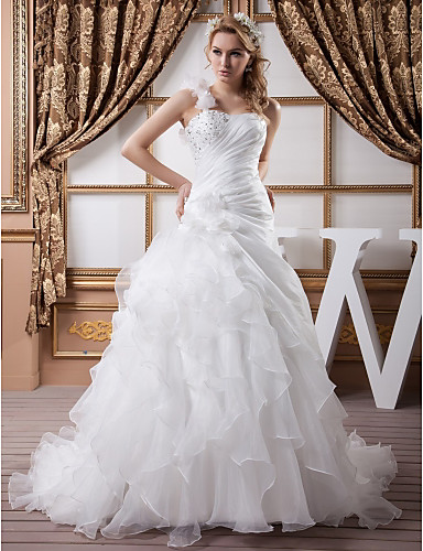 cheap Wedding Dresses-A-Line One Shoulder Chapel Train Organza / Satin Spaghetti Strap Wedding Dresses with Ruched / Beading / Cascading Ruffles 2020