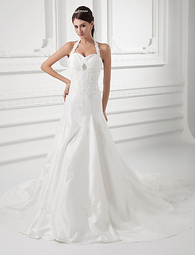 cheap Wedding Dresses-A-Line Halter Neck Court Train Taffeta Spaghetti Strap Simple / Vintage Plus Size Wedding Dresses with Ruched / Beading / Appliques 2020