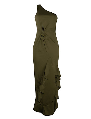 levne Maxi šaty-Dámské Elegantní Mořská panna Šaty - Jednobarevné, Volány Maxi