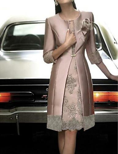 preiswerte Hübsche Damen Kleider-Damen Elegant Satin Schlank Hülle Zweiteiler Kleid - Spitze, Blumen Knielang