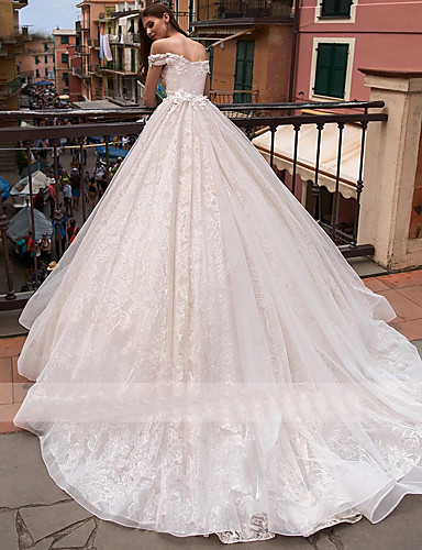 cheap Wedding Dresses-Ball Gown Off Shoulder Chapel Train Lace / Tulle Short Sleeve Wedding Dresses with Appliques 2020