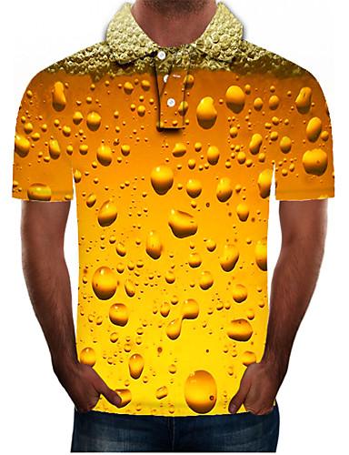 Homens Tamanhos Grandes Polo Moda de Rua / Exagerado Estampado, Estampa Colorida / 3D / Gráfico Colarinho de Camisa Amarelo / Manga Curta